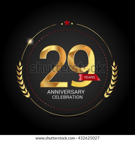 29 Years Golden Anniversary Logo Red Stock Vector ...