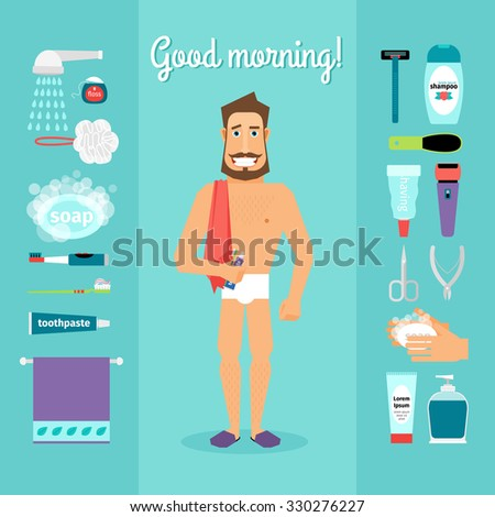 """Good morning"" vector illustration with man and essential: towel, toothpaste, toothbrush, soap"