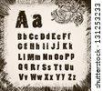 grunge frame  with  grunge alphabet - stock