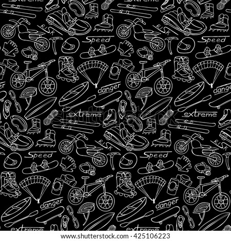 Hand drawn doodle extreme seamless pattern on black background