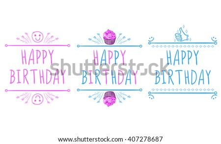 Happy birthday card templates handdrawn elements stock vector happy birthday card templates with hand drawn elements smile cupcake bookmarktalkfo Image collections