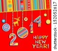 2014 Happy New Year greeting  red card or background. Vector illustration  - stock photo