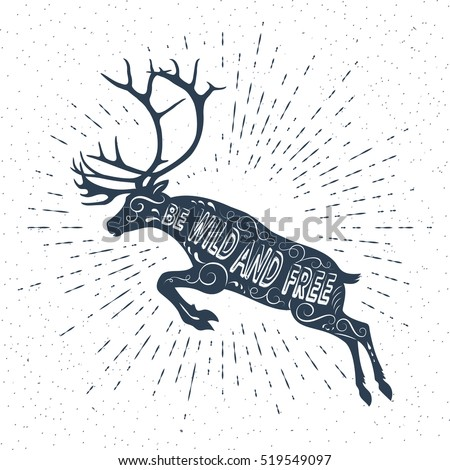 Happy New Year! Merry Christmas. Reindeer with beautiful antlers. Vector sunburst design elements. light rays of burst.