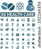 50 health care icons set, vector - stock vector