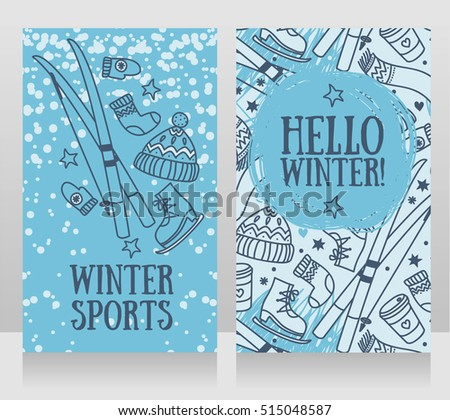 """hello winter"" cards, banners for winter games and sports, vector illustration"