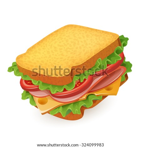 High detailed vector sandwich illustration.