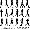 18 high quality female marathon runners silhouettes - stock vector
