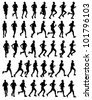 40 high quality male marathon runners silhouettes - stock vector
