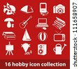 16 hobby icon collection - stock vector