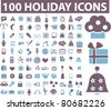 100 holidays icons, illustrations, vector - stock vector