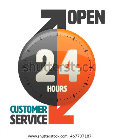 24 hours open customer service icon. vector illustration.