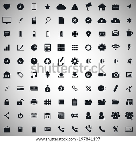 100 icon set for web and mobile, illustration eps 10