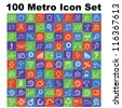 100 icons, metro style icon set, modern icon - stock vector
