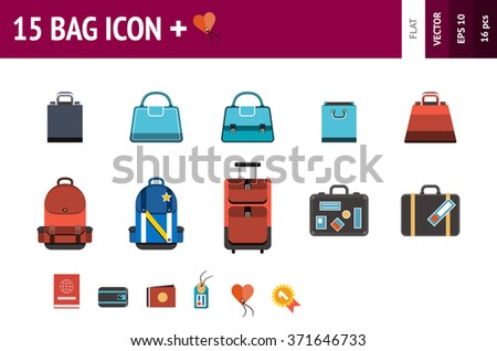 15 Icons of bags and accessories for them. Sign of bag for travels and buying. Symbols of bag and package for business and ui templates.  Flat style.