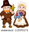 Illustration of Cute Pilgrims Couple - stock vector