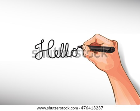 Illustration of man`s hand, which writes note on paper, template for your designs