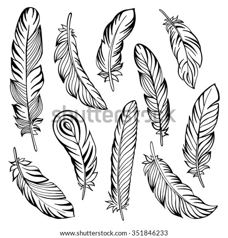 indian feather set hand drawn vector stock vector 350846321