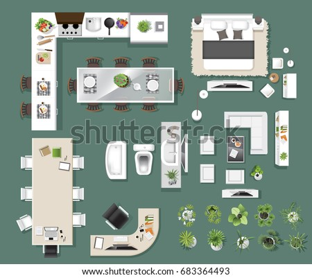 Landscape design composition top view gardening stock for Top view design