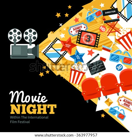 International cinema festival poster with tickets stars and shooting symbols flat vector illustration