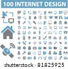 100 internet design icons, signs, vector illustrations - stock vector