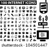 100 internet icons set, vector - stock photo
