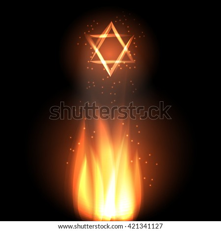 Jewish holiday of Lag Baomer illustration with fire and star of david.