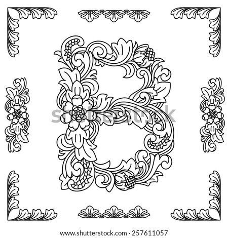 Floral Letters Coloring : Set letters alphabet drawing vintage stock vector 232173247