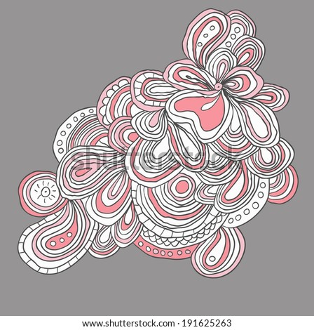 lined floral pattern with many details in pink and white colors