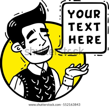 man laughs and shows a hand circle comics for text