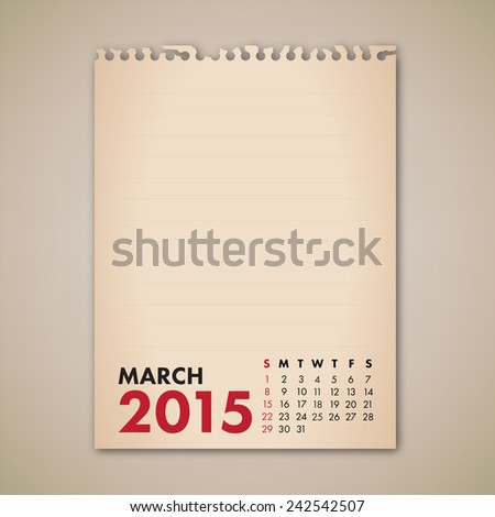 2015 March Old Note Paper Calendar Vector