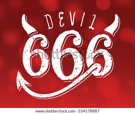 666, Mark of the Beast. Custom letterforms on a red background.