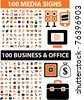 200 media & business & office icons, signs, vector - stock photo