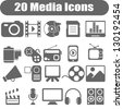 20 Media Icons - stock vector