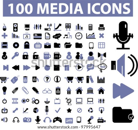 100 media icons, vector