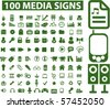 100 media signs. vector - stock photo