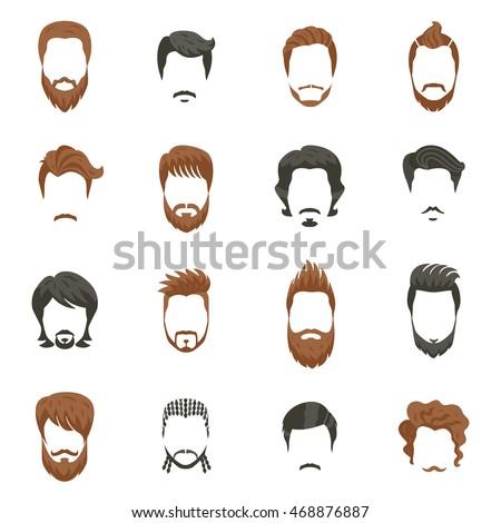 Astounding Beards Mustaches Hairstyles Set Different Types Stock Vector Short Hairstyles For Black Women Fulllsitofus