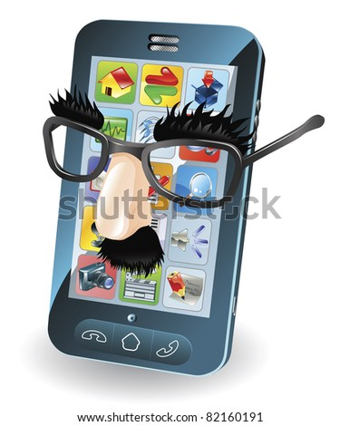 Mobile phone with disguise on, concept for chipping phone or cloning sims etc.