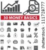 30 money basics icons set, vector - stock vector