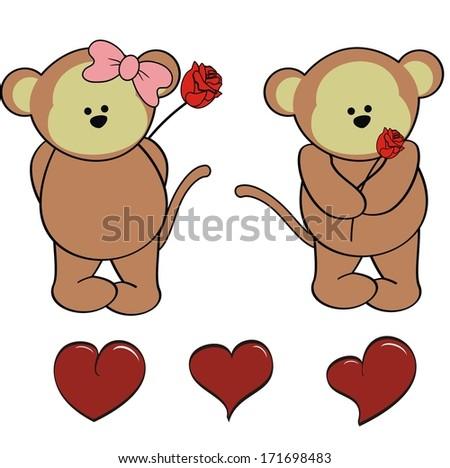 Cartoon girl monkey and boy monkey stock photos illustrations and
