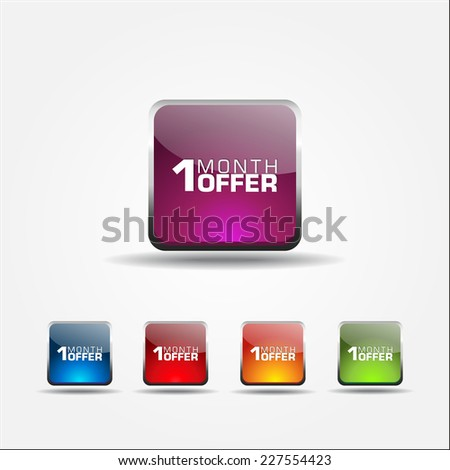 1 Month Offer Colorful Vector Icon Design