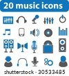 20 music icons.vector - stock photo