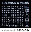 100 music & media icons, signs, vector - stock vector