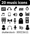 20 music vector icons - minimal black series. see more in my portfolio - stock photo