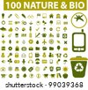 100 nature & bio icons set, vector - stock vector
