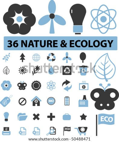 36 nature & ecology signs. vector