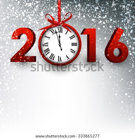 2016 New Year card with clock. Vector paper illustration.