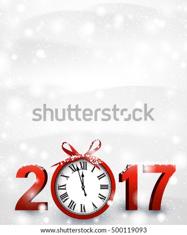 2017 New Year snowy background with red clock. Vector illustration.