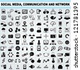 100 of social media, network communication icons set, vector - stock vector