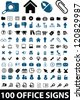100 office icons, signs set, vector - stock vector