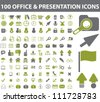 100 office & presentation icons set, vector - stock vector